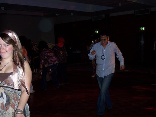 Lucy running from disco stu!